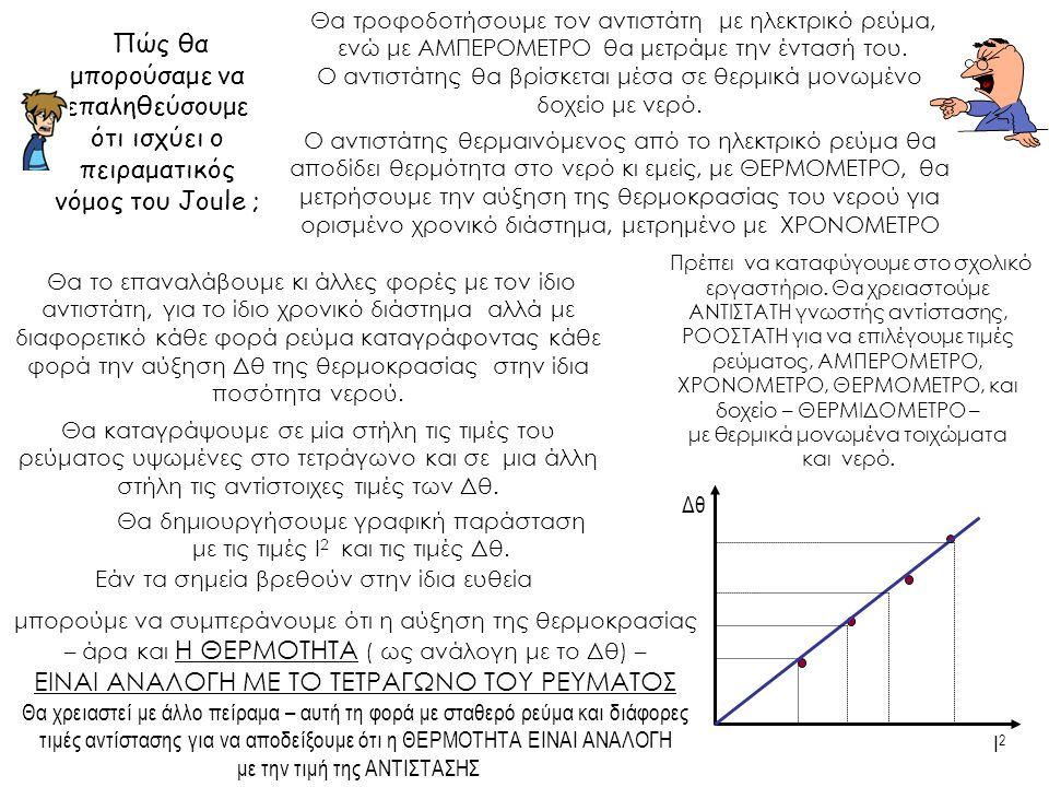 Πώς θα μπορούσαμε να επαληθεύσουμε ότι ισχύει ο πειραματικός νόμος του Joule ; Θα καταγράψουμε σε μία στήλη τις τιμές του ρεύματος υψωμένες στο τετράγωνο και σε μια άλλη στήλη τις αντίστοιχες τιμές των Δθ.