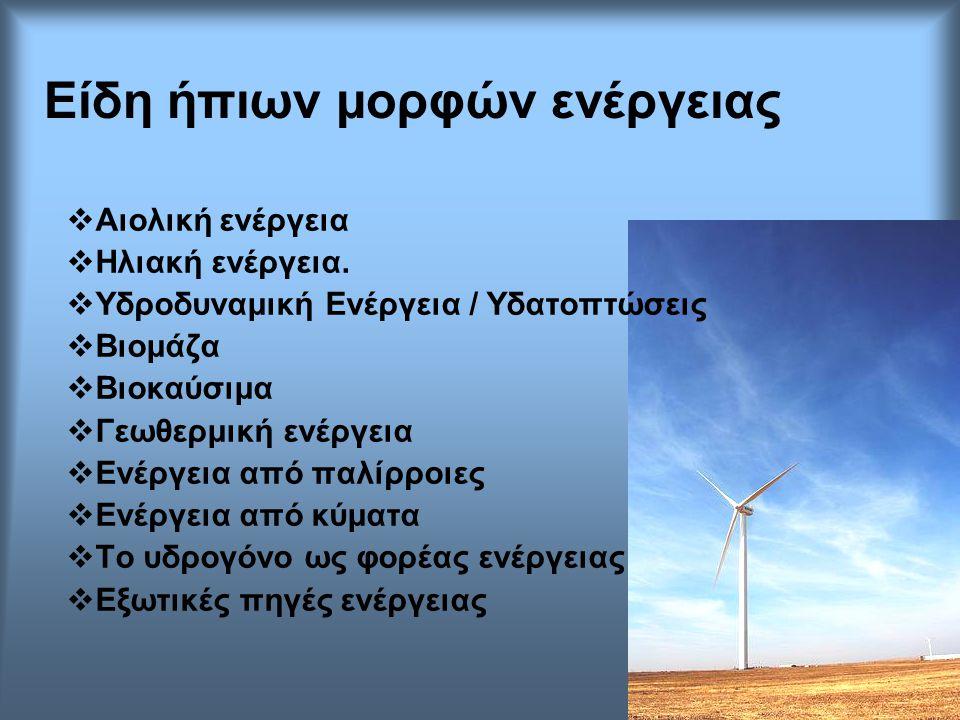 Είδη ήπιων μορφών ενέργειας  Αιολική ενέργεια  Ηλιακή ενέργεια.  Υδροδυναμική Ενέργεια / Υδατοπτώσεις  Βιομάζα  Βιοκαύσιμα  Γεωθερμική ενέργεια