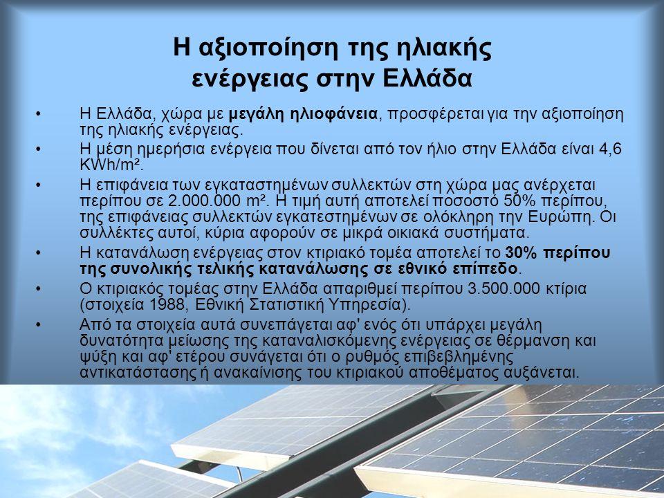 Η αξιοποίηση της ηλιακής ενέργειας στην Ελλάδα •H Ελλάδα, χώρα με μεγάλη ηλιοφάνεια, προσφέρεται για την αξιοποίηση της ηλιακής ενέργειας. •Η μέση ημε