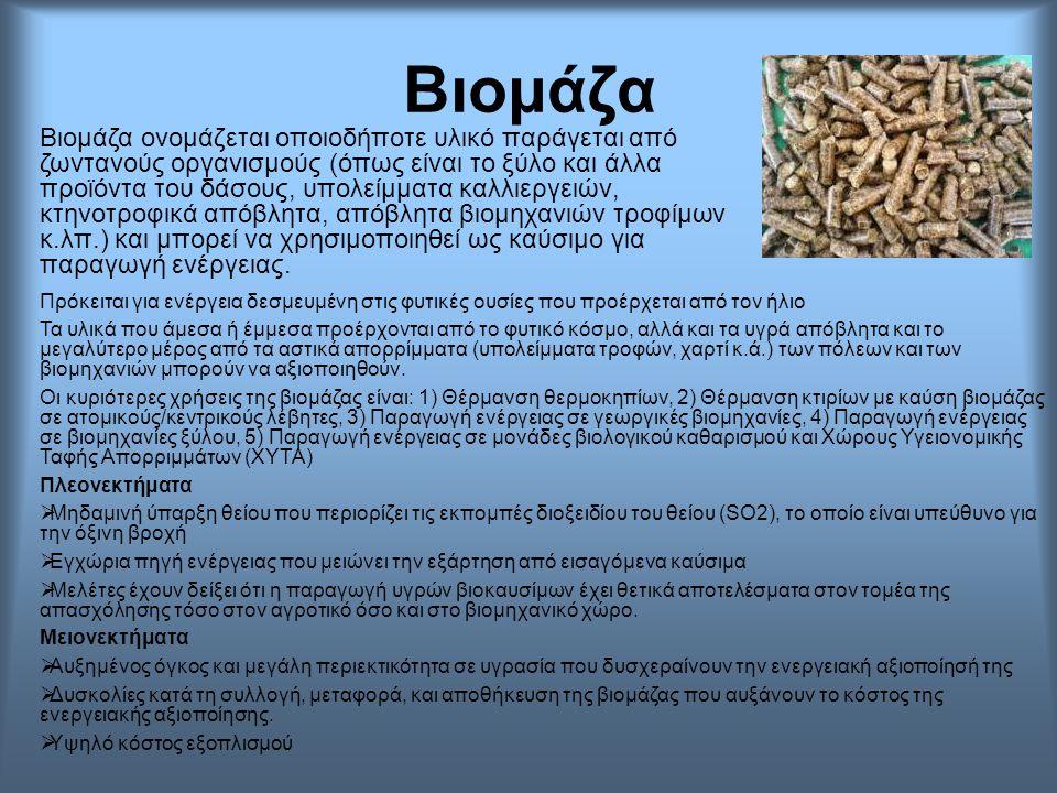 Βιομάζα Βιομάζα ονομάζεται οποιοδήποτε υλικό παράγεται από ζωντανούς οργανισμούς (όπως είναι το ξύλο και άλλα προϊόντα του δάσους, υπολείμματα καλλιερ