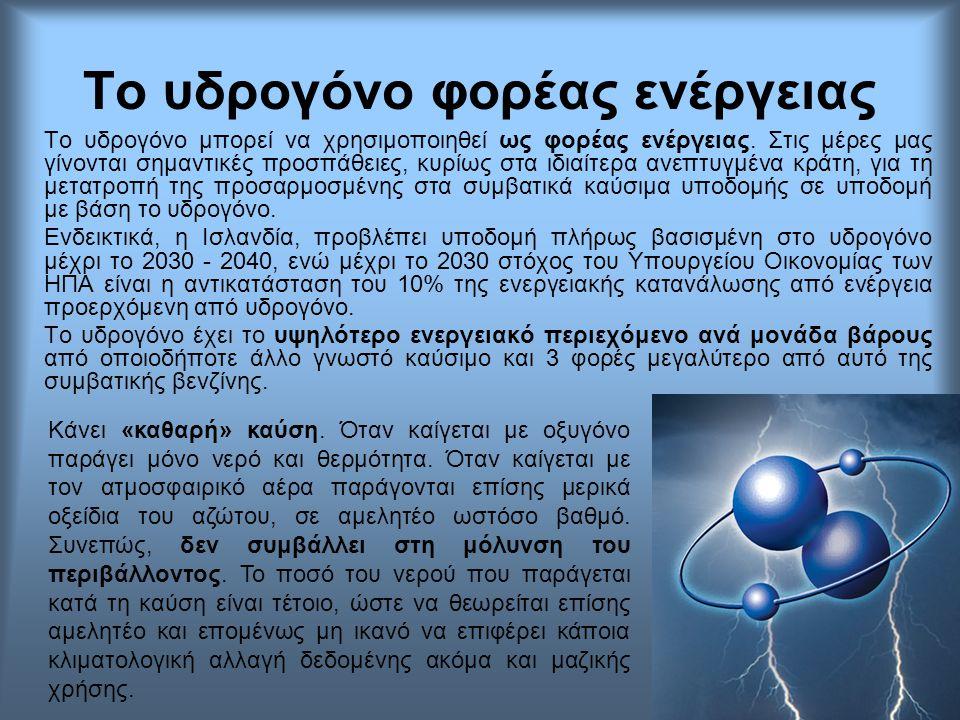 Το υδρογόνο φορέας ενέργειας Το υδρογόνο μπορεί να χρησιμοποιηθεί ως φορέας ενέργειας. Στις μέρες μας γίνονται σημαντικές προσπάθειες, κυρίως στα ιδια
