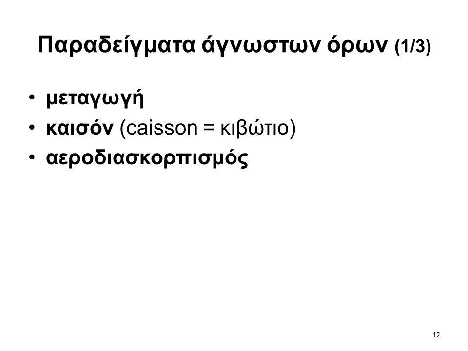 12 Παραδείγματα άγνωστων όρων (1/3) •μεταγωγή •καισόν (caisson = κιβώτιο) •αεροδιασκορπισμός
