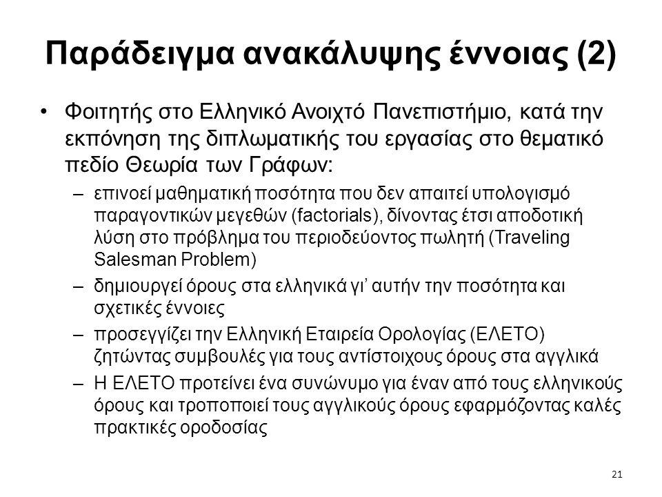 21 Παράδειγμα ανακάλυψης έννοιας (2) •Φοιτητής στο Ελληνικό Ανοιχτό Πανεπιστήμιο, κατά την εκπόνηση της διπλωματικής του εργασίας στο θεματικό πεδίο Θ