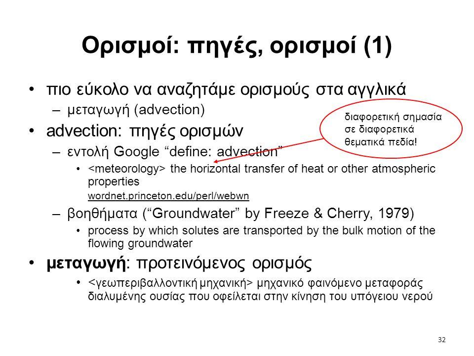 """32 Ορισμοί: πηγές, ορισμοί (1) •πιο εύκολο να αναζητάμε ορισμούς στα αγγλικά –μεταγωγή (advection) •advection: πηγές ορισμών –εντολή Google """"define: a"""