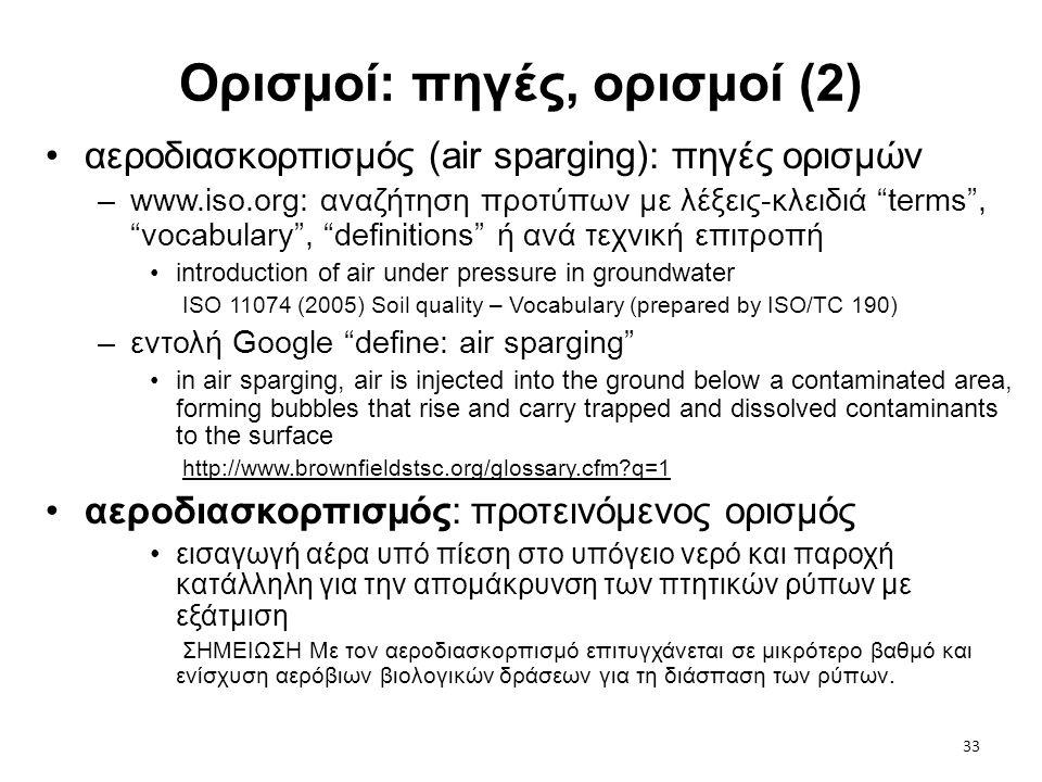 """33 Ορισμοί: πηγές, ορισμοί (2) •αεροδιασκορπισμός (air sparging): πηγές ορισμών –www.iso.org: αναζήτηση προτύπων με λέξεις-κλειδιά """"terms"""", """"vocabular"""