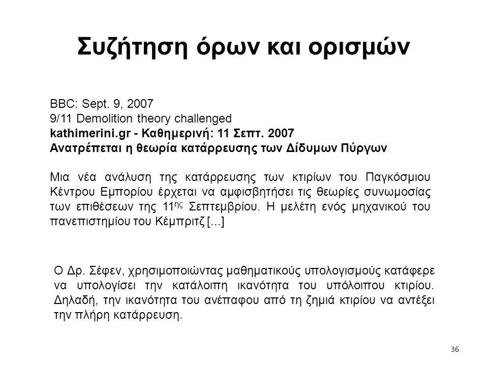 36 Συζήτηση όρων και ορισμών BBC: Sept. 9, 2007 9/11 Demolition theory challenged kathimerini.gr - Καθημερινή: 11 Σεπτ. 2007 Ανατρέπεται η θεωρία κατά