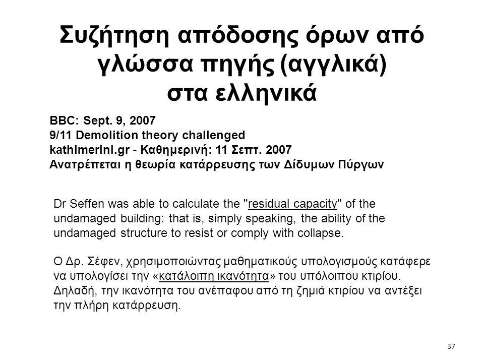 37 Συζήτηση απόδοσης όρων από γλώσσα πηγής (αγγλικά) στα ελληνικά BBC: Sept. 9, 2007 9/11 Demolition theory challenged kathimerini.gr - Καθημερινή: 11