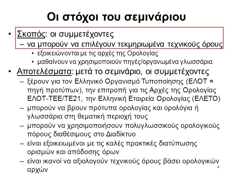 5 Δομή & Περιεχόμενο •Δίωρη παρουσίαση (ημέρα 1) –Οι κύριοι πρωταγωνιστές της ορολογίας: έννοια, ορισμός, όρος –Ανάγκες ορολογίας στην έρευνα (στα ελληνικά) •ένας άγνωστος όρος •πώς να το πούμε αυτό; •ανακάλυψη καινούριας έννοιας –Έννοιες, σχέσεις μεταξύ εννοιών, συστήματα εννοιών –4 κανόνες για ορισμούς, 7 αρχές για όρους –Αξιολόγηση όρων επιλεγμένων από τεχνικά κείμενα –Πηγές –Εργασία: αξιολόγηση όρων (παράδοση: ημέρα 15) •Ωριαία συζήτηση (ημέρα 22) –Συζήτηση εργασιών