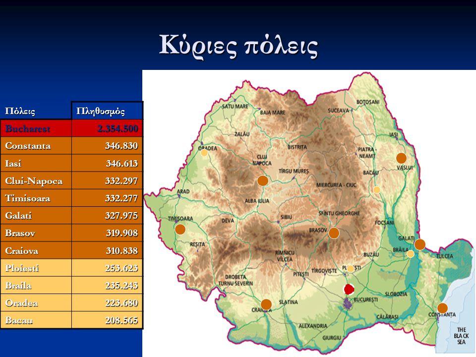 Οι 41 Νομαρχίες της ΡΟΥΜΑΝΙΑΣ Οι 15 μεγαλύτερες ΝομαρχίεςΝΟΜΑΡΧΙΕΣΠΛΗΘΥΣΜΟΣBucharest2354500 Prahova869000 Iasi822600 Dolj752000 Constanta747100 Bacau745500 Cluj726800 Suceava710800 Timis692600 Arges677200 Galati641600 Brasov637500 Bihor628500 Mures604300 Neamt584780