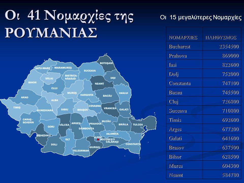 Οι 41 Νομαρχίες της ΡΟΥΜΑΝΙΑΣ Οι 15 μεγαλύτερες ΝομαρχίεςΝΟΜΑΡΧΙΕΣΠΛΗΘΥΣΜΟΣBucharest2354500 Prahova869000 Iasi822600 Dolj752000 Constanta747100 Bacau7