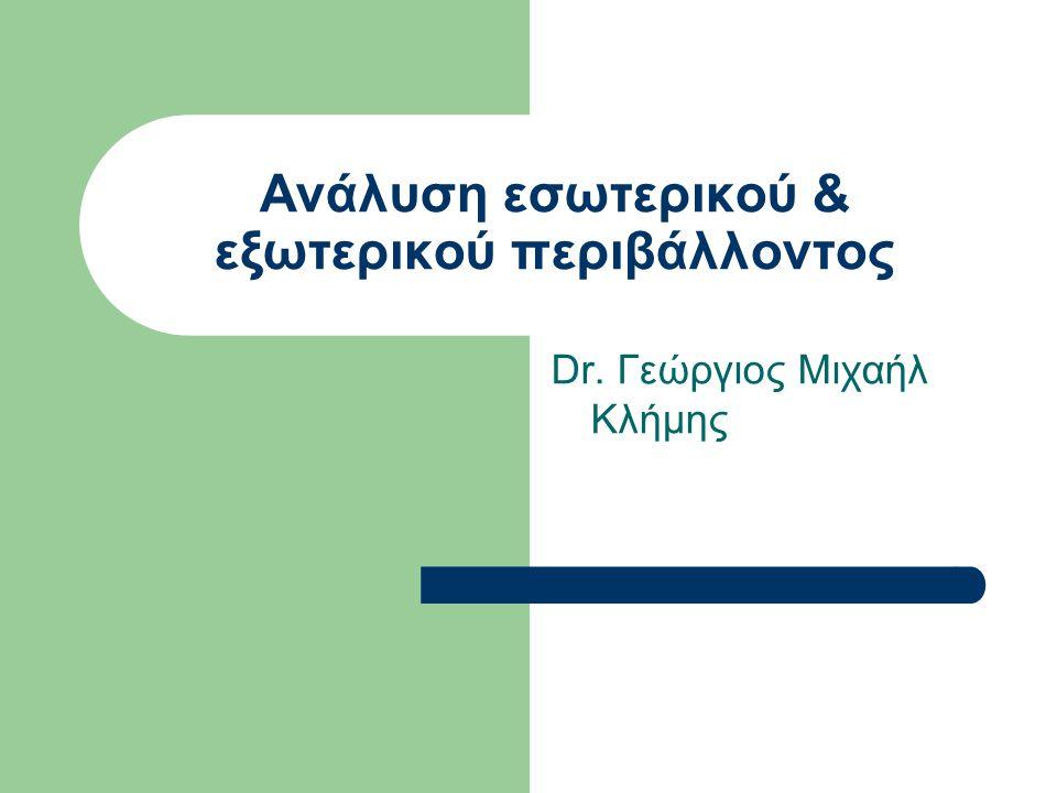 Ανάλυση εσωτερικού & εξωτερικού περιβάλλοντος Dr. Γεώργιος Μιχαήλ Κλήμης