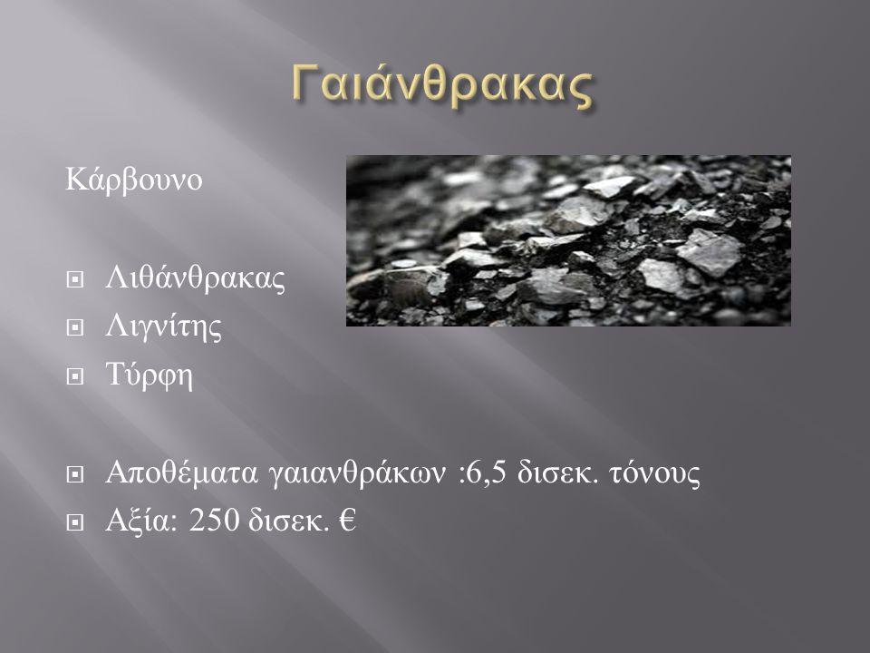 Κάρβουνο  Λιθάνθρακας  Λιγνίτης  Τύρφη  Αποθέματα γαιανθράκων :6,5 δισεκ. τόνους  Αξία : 250 δισεκ. €
