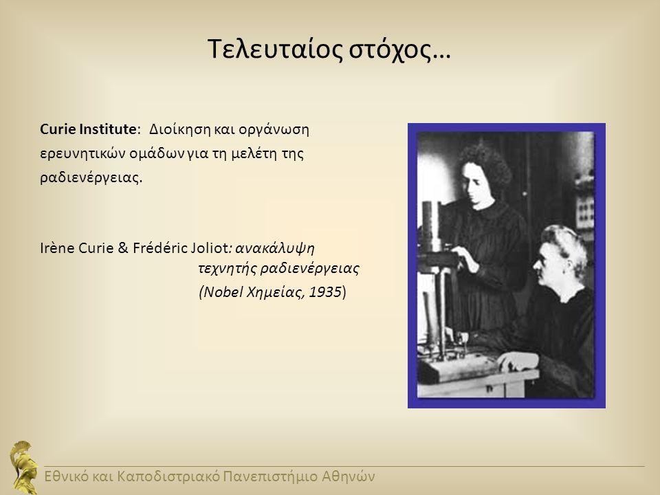Τελευταίος στόχος… Curie Institute: Διοίκηση και οργάνωση ερευνητικών ομάδων για τη μελέτη της ραδιενέργειας. Irène Curie & Frédéric Joliot: ανακάλυψη
