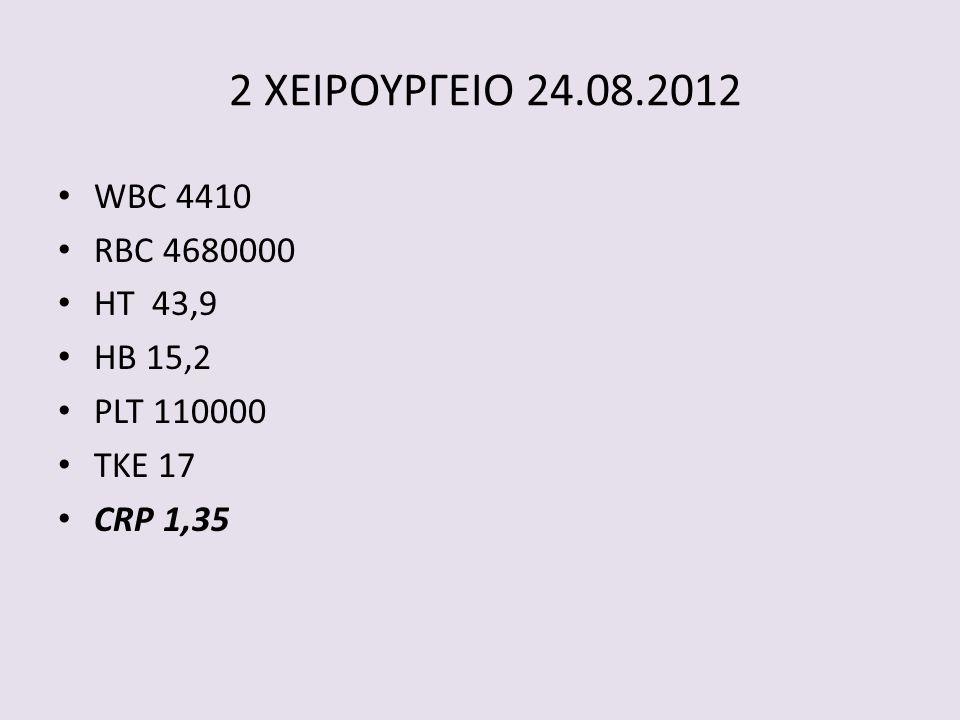2 ΧΕΙΡΟΥΡΓΕΙΟ 24.08.2012 • WBC 4410 • RBC 4680000 • HT 43,9 • HB 15,2 • PLT 110000 • TKE 17 • CRP 1,35