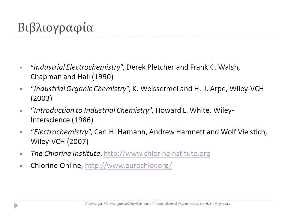 """Βιβλιογραφία Πρόγραμμα Μεταπτυχιακών Σπουδών - Κατεύθυνση : « Φυσική Χημεία Υλικών και Ηλεκτροχημεία »  """" Industrial Electrochemistry"""", Derek Pletche"""