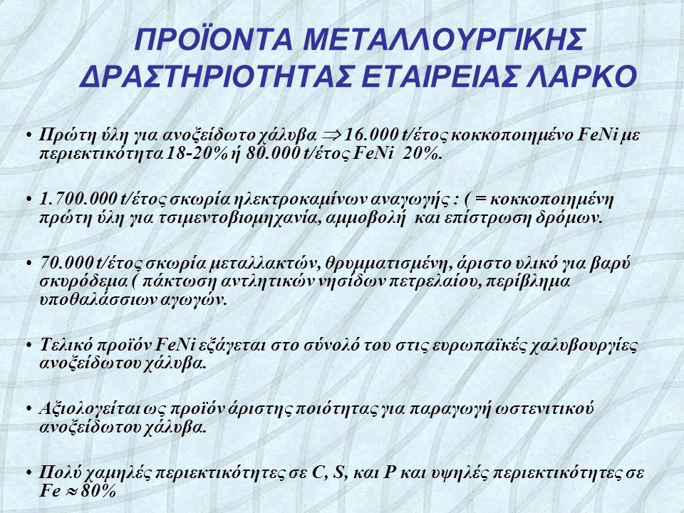 ΠΡΟΪΟΝΤΑ ΜΕΤΑΛΛΟΥΡΓΙΚΗΣ ΔΡΑΣΤΗΡΙΟΤΗΤΑΣ ΕΤΑΙΡΕΙΑΣ ΛΑΡΚΟ •Πρώτη ύλη για ανοξείδωτο χάλυβα  16.000 t/έτος κοκκοποιημένο FeNi με περιεκτικότητα 18-20% ή 80.000 t/έτος FeNi 20%.