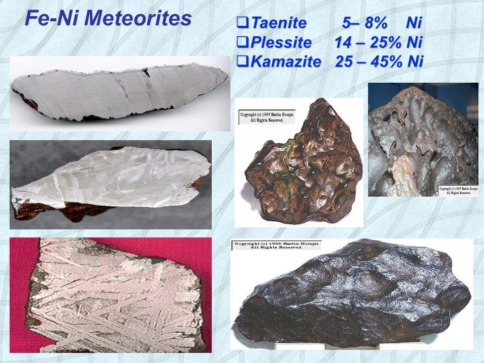 Fe-Ni Meteorites  Taenite 5– 8% Ni  Plessite 14 – 25% Ni  Kamazite 25 – 45% Ni