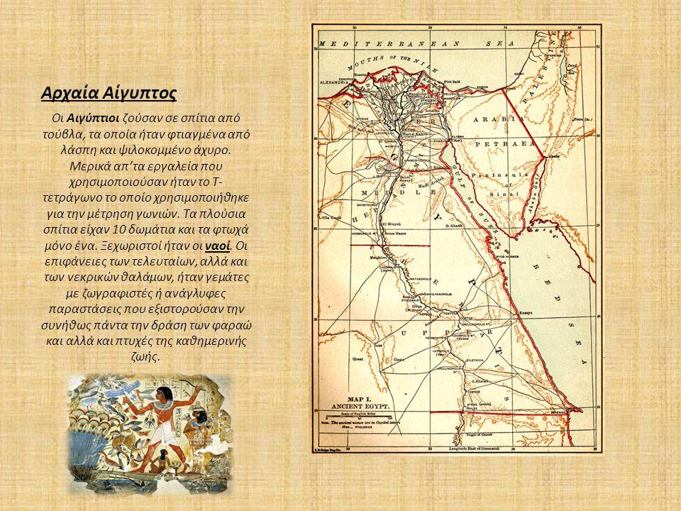 Αρχαία Αίγυπτος Οι Αιγύπτιοι ζούσαν σε σπίτια από τούβλα, τα οποία ήταν φτιαγμένα από λάσπη και ψιλοκομμένο άχυρο. Μερικά απ'τα εργαλεία που χρησιμοπο