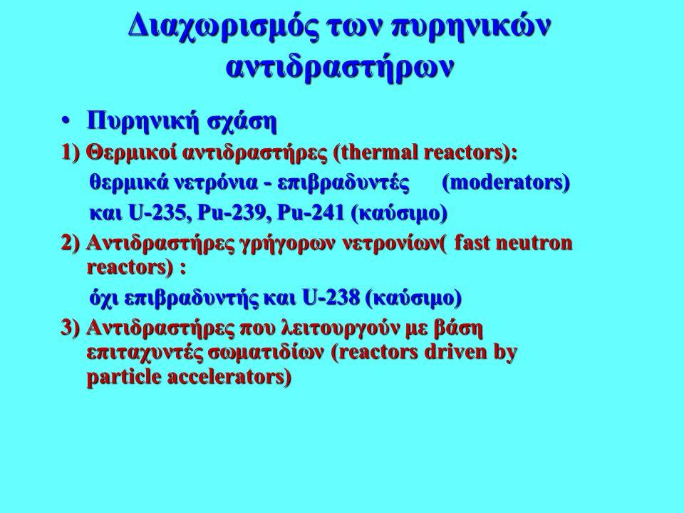 Διαχωρισμός των πυρηνικών αντιδραστήρων •Πυρηνική σχάση 1) Θερμικοί αντιδραστήρες (thermal reactors): θερμικά νετρόνια - επιβραδυντές (moderators) θερ