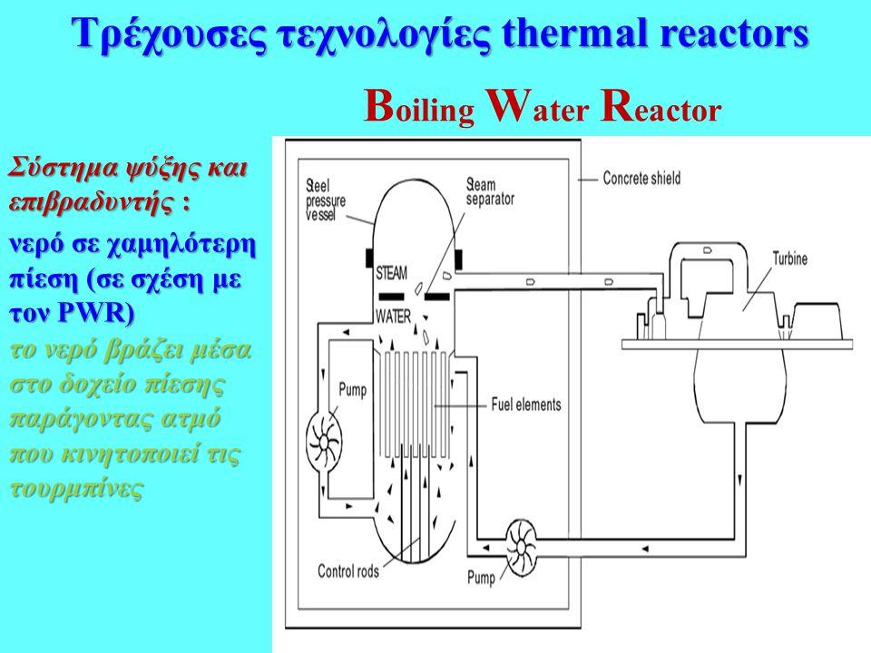 Β oiling W ater R eactor Σύστημα ψύξης και επιβραδυντής : νερό σε χαμηλότερη πίεση (σε σχέση με τον PWR) το νερό βράζει μέσα στο δοχείο πίεσης παράγον