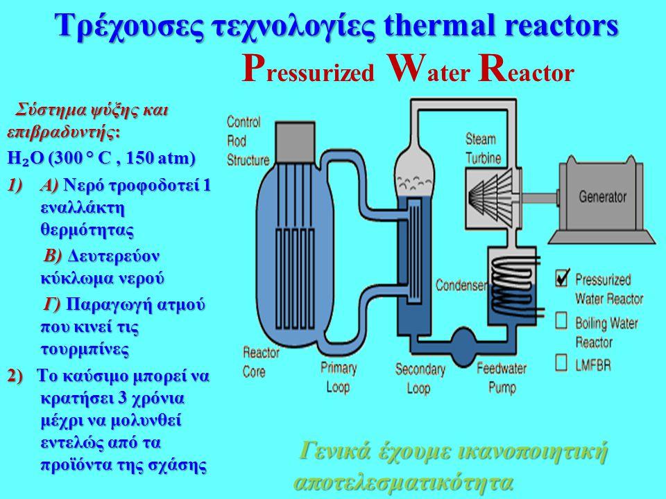 P ressurized W ater R eactor Σύστημα ψύξης και επιβραδυντής: Σύστημα ψύξης και επιβραδυντής: H ₂ O (300 ° C, 150 atm) 1)Α) Νερό τροφοδοτεί 1 εναλλάκτη