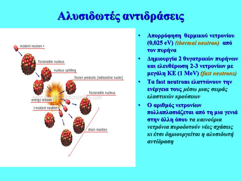 Αλυσιδωτές αντιδράσεις •Απορρόφηση θερμικού νετρονίου (0,025 eV) (thermal neutron) από τον πυρήνα •Δημιουργία 2 θυγατρικών πυρήνων και ελευθέρωση 2-3
