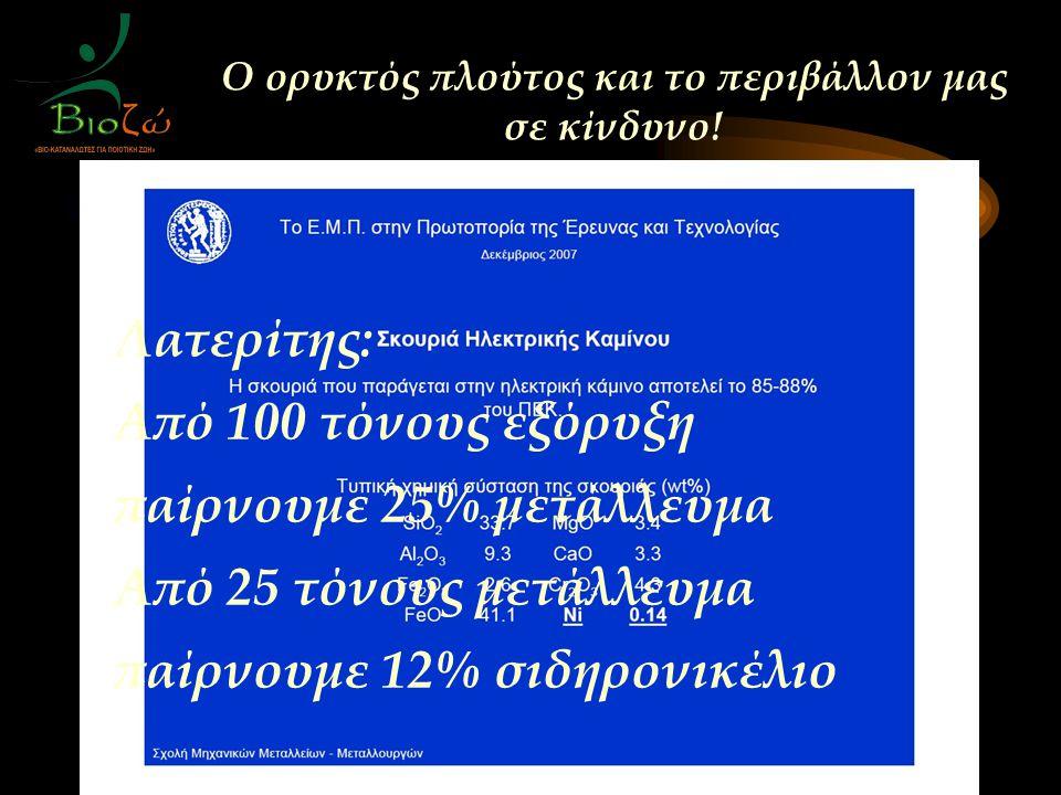 Λατερίτης: Από 100 τόνους εξόρυξη παίρνουμε 25% μετάλλευμα Από 25 τόνους μετάλλευμα παίρνουμε 12% σιδηρονικέλιο