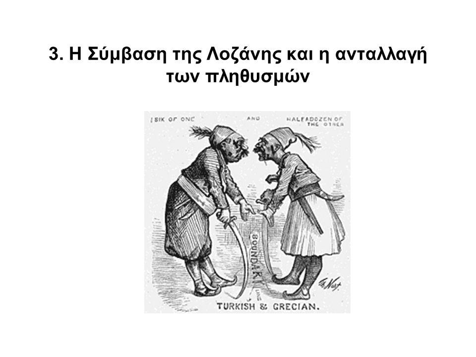 •24 Ιουλίου 1923: Συνθήκη ειρήνης της Λοζάνης •30 Ιανουαρίου 1923: Ελληνοτουρκική Σύμβαση ↓  υποχρεωτική ανταλλαγή πληθυσμών μεταξύ Ελλήνων ορθοδόξων κατοίκων της Τουρκίας και των Μουσουλμάνων κατοίκων της Ελλάδας  Ίσχυε τόσο γι΄ αυτούς που παρέμεναν στις εστίες τους, όσο και για εκείνους που είχαν καταφύγει στην ομόθρησκη χώρα  Ίσχυε αναδρομικά για όλες τις μετακινήσεις που έγιναν από την ημέρα που κηρύχθηκε ο Α΄ Βαλκανικός πόλεμος (Οκτ.