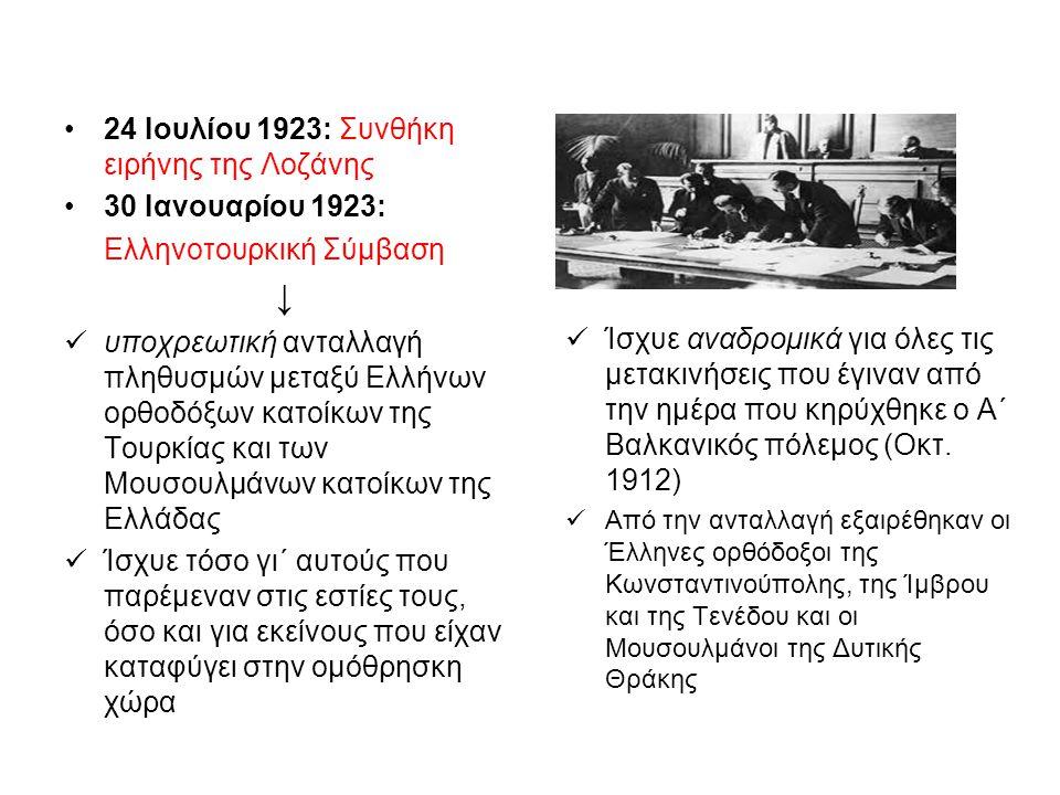 •24 Ιουλίου 1923: Συνθήκη ειρήνης της Λοζάνης •30 Ιανουαρίου 1923: Ελληνοτουρκική Σύμβαση ↓  υποχρεωτική ανταλλαγή πληθυσμών μεταξύ Ελλήνων ορθοδόξων