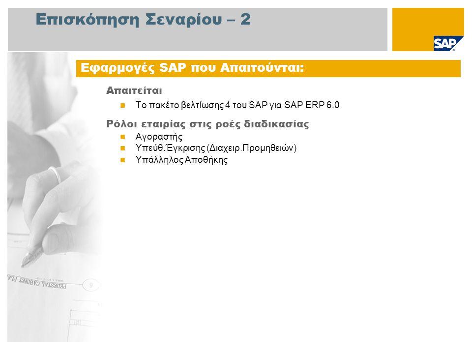 Επισκόπηση Σεναρίου – 2 Απαιτείται  Το πακέτο βελτίωσης 4 του SAP για SAP ERP 6.0 Ρόλοι εταιρίας στις ροές διαδικασίας  Αγοραστής  Υπεύθ.Έγκρισης (Διαχειρ.Προμηθειών)  Υπάλληλος Αποθήκης Εφαρμογές SAP που Απαιτούνται: