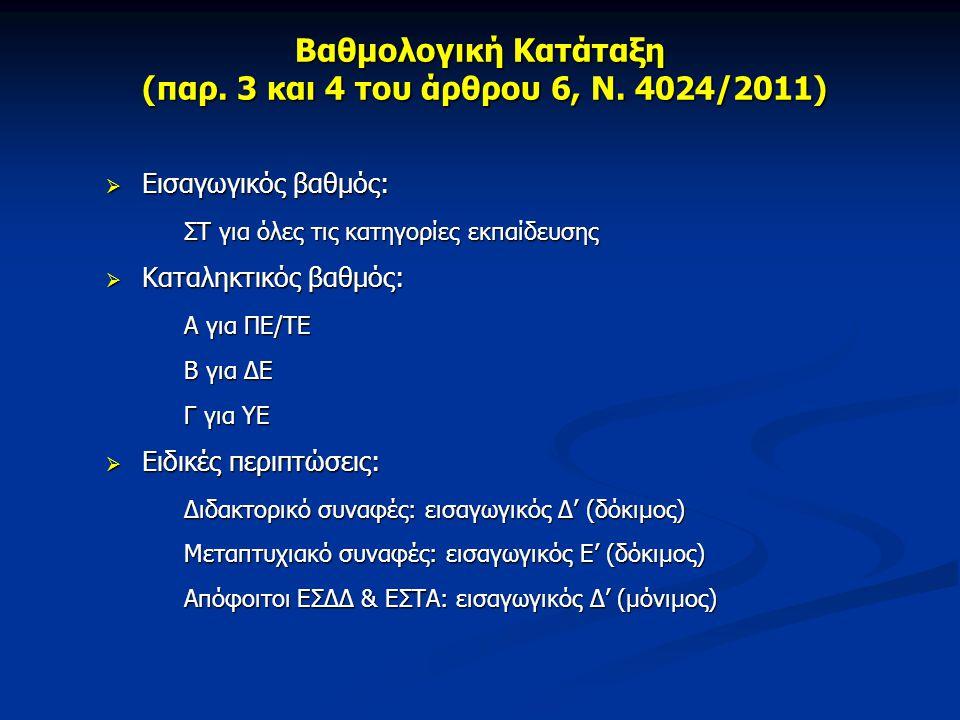 Βαθμολογική Κατάταξη (παρ. 3 και 4 του άρθρου 6, Ν. 4024/2011)  Εισαγωγικός βαθμός: ΣΤ για όλες τις κατηγορίες εκπαίδευσης  Καταληκτικός βαθμός: Α γ