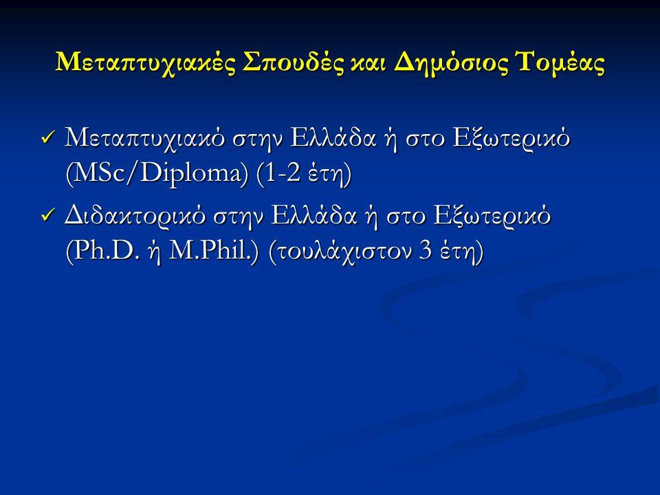 Μεταπτυχιακές Σπουδές και Δημόσιος Τομέας  Μεταπτυχιακό στην Ελλάδα ή στο Εξωτερικό (MSc/Diploma) (1-2 έτη)  Διδακτορικό στην Ελλάδα ή στο Εξωτερικό