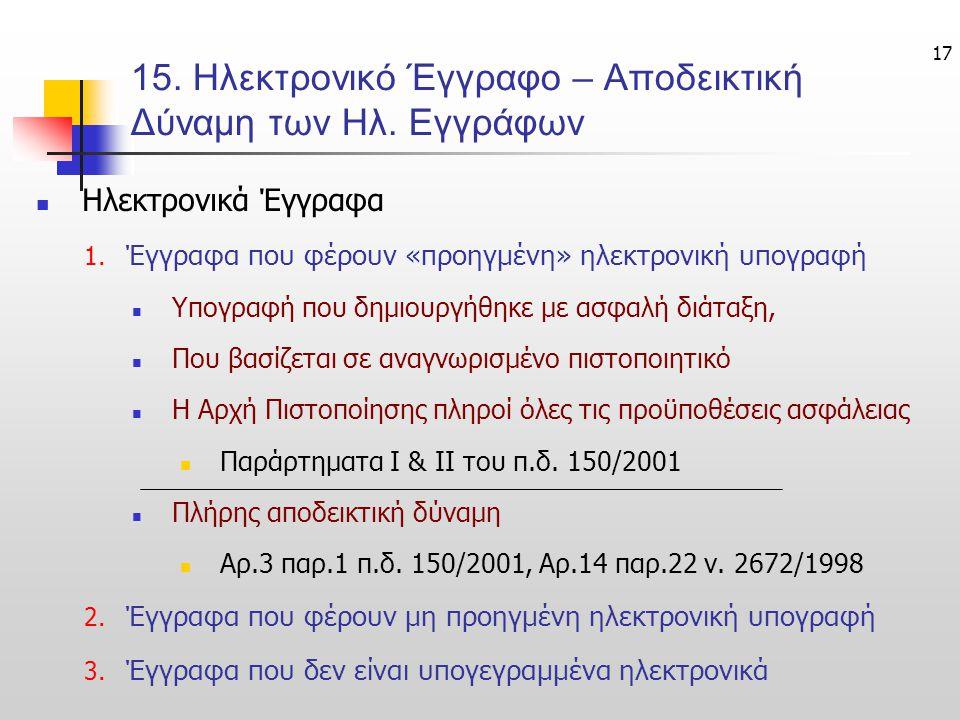 17 15.Ηλεκτρονικό Έγγραφο – Αποδεικτική Δύναμη των Ηλ.