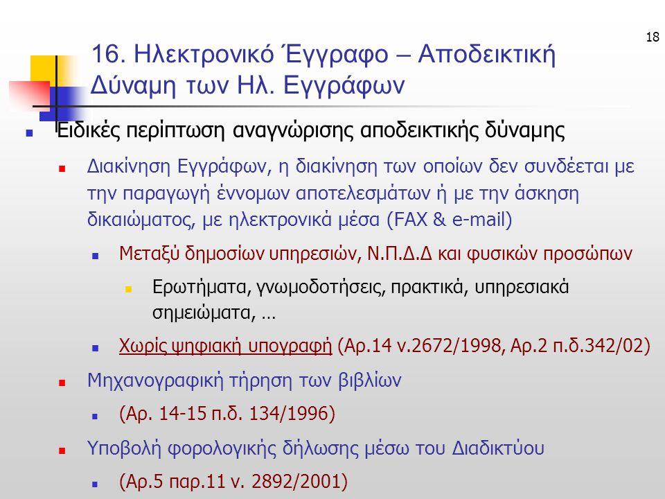 18 16.Ηλεκτρονικό Έγγραφο – Αποδεικτική Δύναμη των Ηλ.