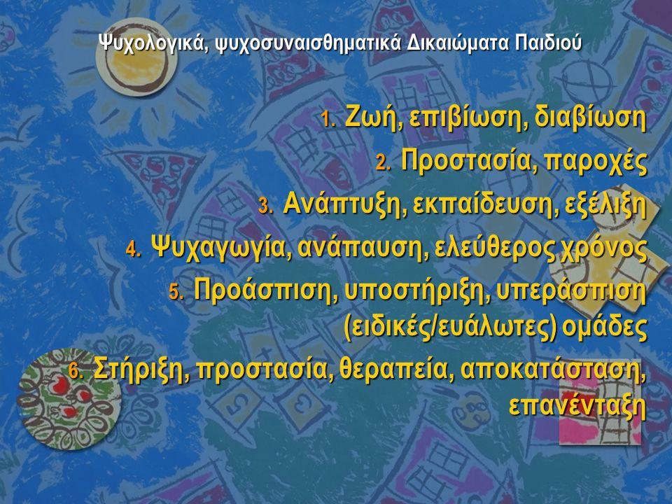 Ψυχολογικά, ψυχοσυναισθηματικά Δικαιώματα Παιδιού 1. Ζωή, επιβίωση, διαβίωση 2. Προστασία, παροχές 3. Ανάπτυξη, εκπαίδευση, εξέλιξη 4. Ψυχαγωγία, ανάπ