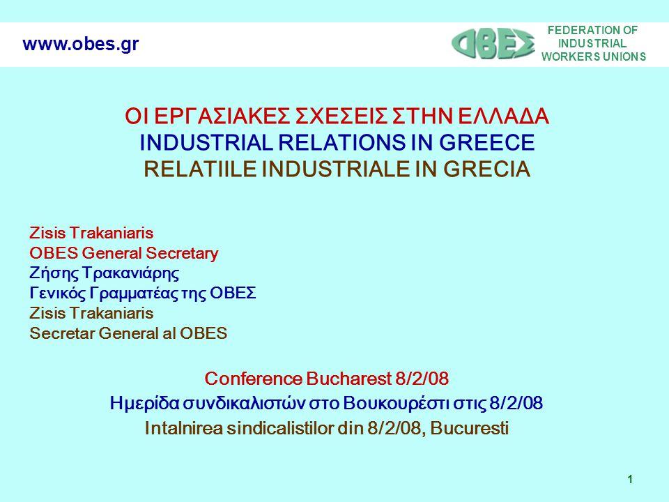 FEDERATION OF INDUSTRIAL WORKERS UNIONS 2 www.obes.gr GREEK LABOUR MOVEMENT STRUCTURE ΔΟΜΗ ΤΟΥ ΕΛΛΗΝΙΚΟΥ ΣΥΝΔΙΚΑΛΙΣΤΙΚΟΥ ΚΙΝΗΜΑΤΟΣ STRUCTURA MISCARII SNDICALSTE GRECESTI GENERAL COFEDERATION OF GREEK WORKERS ΓΣΕΕ CONFEDERATIA GENERALA A MUNCITORLIOR GRECI FEDERATIONS ΟΜΟΣΠΟΝΔΙΕΣ FEDERATII LOCAL LABOUR CENTERS ΕΡΓΑΤΙΚΑ ΚΕΝΤΡΑ CENTRE LOCALE DE LUCRU TRADE UNIONS ΣΩΜΑΤΕΙΑ SINDICATE SECTORIAL ΚΛΑΔΙΚΑ SECTOARE COMPANY BASED ΕΠΙΧΕΙΡΗΣΙΑΚΑ OPERATIUNI