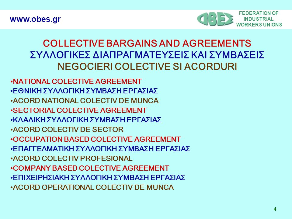 FEDERATION OF INDUSTRIAL WORKERS UNIONS 4 www.obes.gr COLLECTIVE BARGAINS AND AGREEMENTS ΣΥΛΛΟΓΙΚΕΣ ΔΙΑΠΡΑΓΜΑΤΕΥΣΕΙΣ ΚΑΙ ΣΥΜΒΑΣΕΙΣ NEGOCIERI COLECTIVE SI ACORDURI •NATIONAL COLECTIVE AGREEMENT •ΕΘΝΙΚΗ ΣΥΛΛΟΓΙΚΗ ΣΥΜΒΑΣΗ ΕΡΓΑΣΙΑΣ •ACORD NATIONAL COLECTIV DE MUNCA •SECTORIAL COLECTIVE AGREEMENT •ΚΛΑΔΙΚΗ ΣΥΛΛΟΓΙΚΗ ΣΥΜΒΑΣΗ ΕΡΓΑΣΙΑΣ •ACORD COLECTIV DE SECTOR •OCCUPATION BASED COLECTIVE AGREEMENT •ΕΠΑΓΓΕΛΜΑΤΙΚΗ ΣΥΛΛΟΓΙΚΗ ΣΥΜΒΑΣΗ ΕΡΓΑΣΙΑΣ •ACORD COLECTIV PROFESIONAL •COMPANY BASED COLECTIVE AGREEMENT •ΕΠΙΧΕΙΡΗΣΙΑΚΗ ΣΥΛΛΟΓΙΚΗ ΣΥΜΒΑΣΗ ΕΡΓΑΣΙΑΣ •ACORD OPERATIONAL COLECTIV DE MUNCA