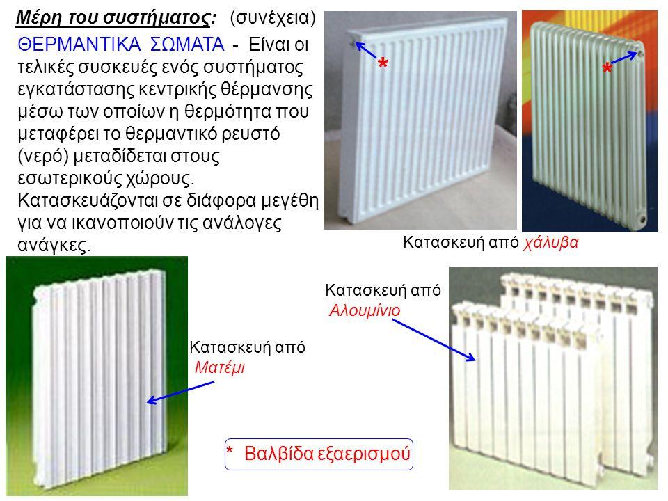 Κατασκευή από χάλυβα Κατασκευή από Αλουμίνιο Κατασκευή από Ματέμι ΘΕΡΜΑΝΤΙΚΑ ΣΩΜΑΤΑ - Είναι οι τελικές συσκευές ενός συστήματος εγκατάστασης κεντρικής