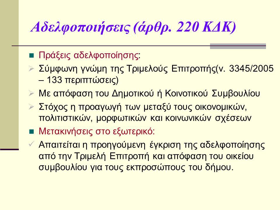 Αδελφοποιήσεις (άρθρ. 220 ΚΔΚ) Πράξεις αδελφοποίησης:  Σύμφωνη γνώμη της Τριμελούς Επιτροπής(ν. 3345/2005 – 133 περιπτώσεις)  Με απόφαση του Δημοτικ