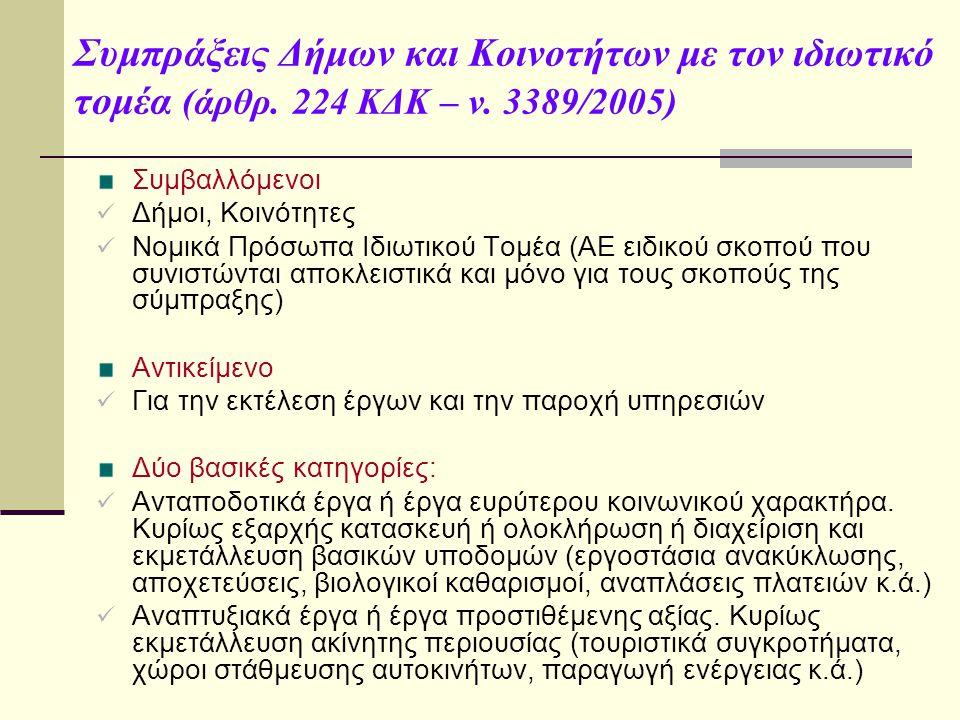 Συμπράξεις Δήμων και Κοινοτήτων με τον ιδιωτικό τομέα (άρθρ.