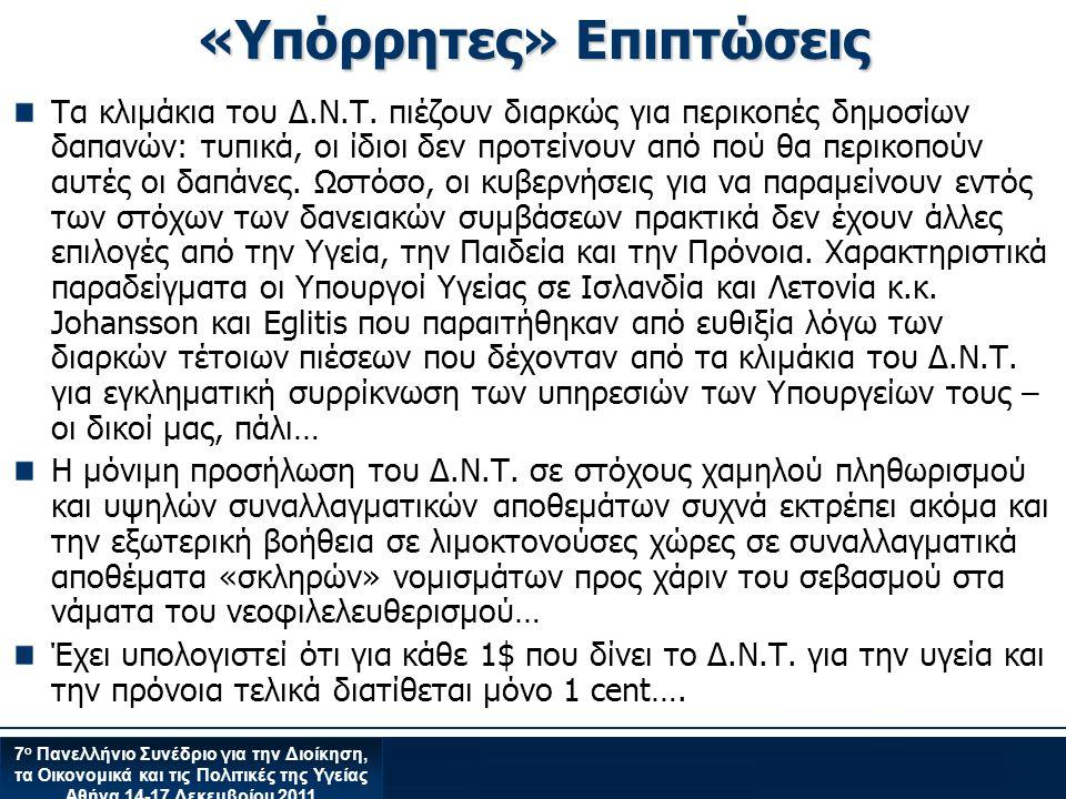 7 ο Πανελλήνιο Συνέδριο για την Διοίκηση, τα Οικονομικά και τις Πολιτικές της Υγείας Αθήνα 14-17 Δεκεμβρίου 2011 «Υπόρρητες» Επιπτώσεις Τα κλιμάκια του Δ.Ν.Τ.