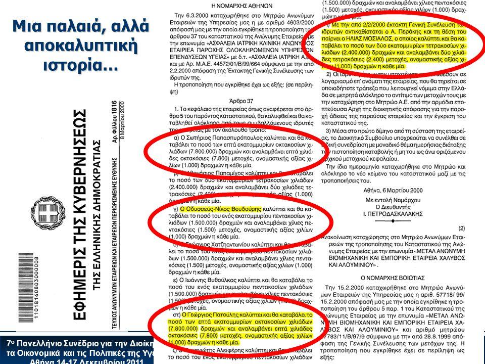 7 ο Πανελλήνιο Συνέδριο για την Διοίκηση, τα Οικονομικά και τις Πολιτικές της Υγείας Αθήνα 14-17 Δεκεμβρίου 2011 Μια παλαιά, αλλά αποκαλυπτική ιστορία…