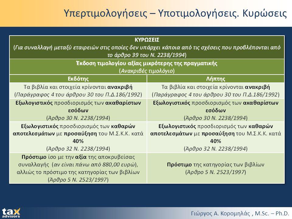 Γιώργος Α. Κορομηλάς, M.Sc. – Ph.D. Υπερτιμολογήσεις – Υποτιμολογήσεις. Κυρώσεις