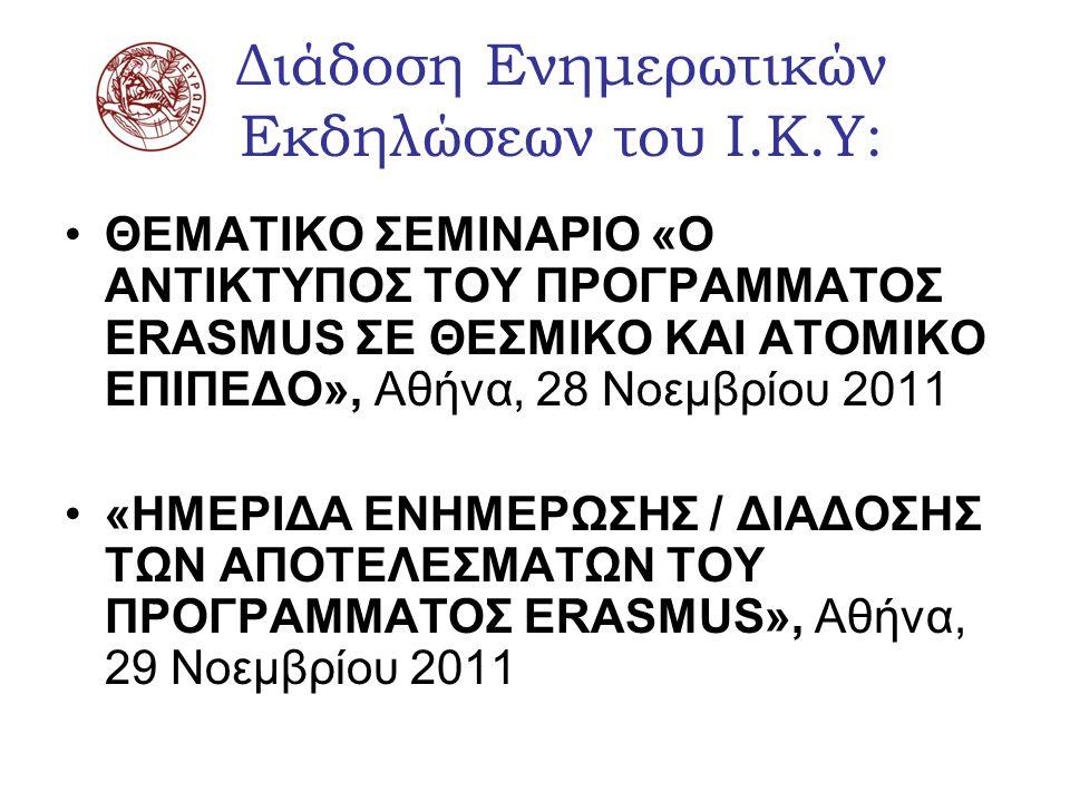 Τα θέματα (1) 1)Ο αντίκτυπος του Προγράμματος Erasmus 2)Τα labels: DS label, ECTS label, Language label 3)Απολογισμός του α.ε.