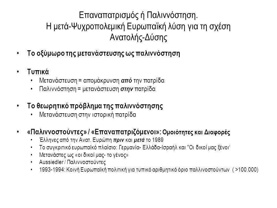 Συμπεράσματα •Σε μία 15ετία τρεις φάσεις στη διαμόρφωση πολιτικής για τη μετανάστευση ως παλιννόστηση: –εποικιστική πολιτική στην Ανατολική Μακεδονία και τη Θράκη (1985-95), περνάει σε μία πιο ευέλικτη πολιτική –'αυτό-διαχειριζόμενης εγκατάστασης (1995-2010) – laissez faire πολιτική παλιννόστησης που στοχεύει στην τελική πολιτική ένταξη των παλιννοστούντων στη χώρα υποδοχής •Αλλαγή του μοντέλου παλιννόστησης από μετεγκατάσταση σε « πήγαινε - έλα » •Αλλαγή του θεσμικού πλαισίου από μία ιθαγένεια σε δύο (διπλή ιθαγένεια) •Το μοντέλο της δια-εθνικότητας (transnationalism) •Ποιοι είναι σήμερα οι «ανεπιθύμητοι ΄Αλλοι»;