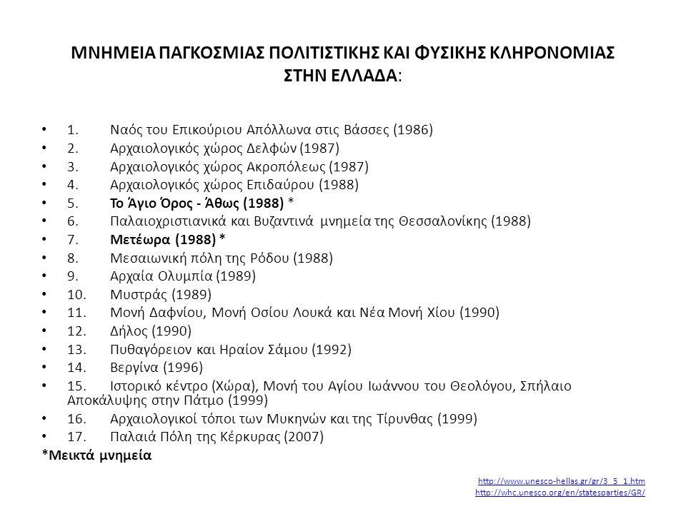 MNHMEIA ΠΑΓΚΟΣΜΙΑΣ ΠΟΛΙΤΙΣΤΙΚΗΣ ΚΑΙ ΦΥΣΙΚΗΣ ΚΛΗΡΟΝΟΜΙΑΣ ΣΤΗΝ ΕΛΛΑΔΑ: • 1.Ναός του Επικούριου Απόλλωνα στις Βάσσες (1986) • 2.Αρχαιολογικός χώρος Δελφώ