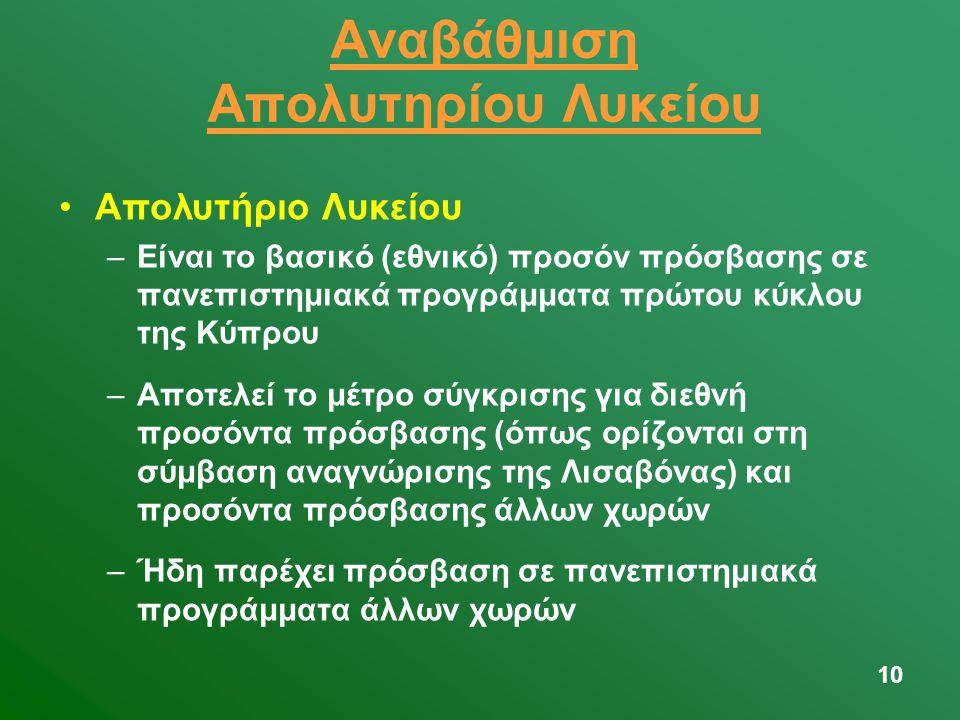 10 Αναβάθμιση Απολυτηρίου Λυκείου •Απολυτήριο Λυκείου –Είναι το βασικό (εθνικό) προσόν πρόσβασης σε πανεπιστημιακά προγράμματα πρώτου κύκλου της Κύπρου –Αποτελεί το μέτρο σύγκρισης για διεθνή προσόντα πρόσβασης (όπως ορίζονται στη σύμβαση αναγνώρισης της Λισαβόνας) και προσόντα πρόσβασης άλλων χωρών –Ήδη παρέχει πρόσβαση σε πανεπιστημιακά προγράμματα άλλων χωρών
