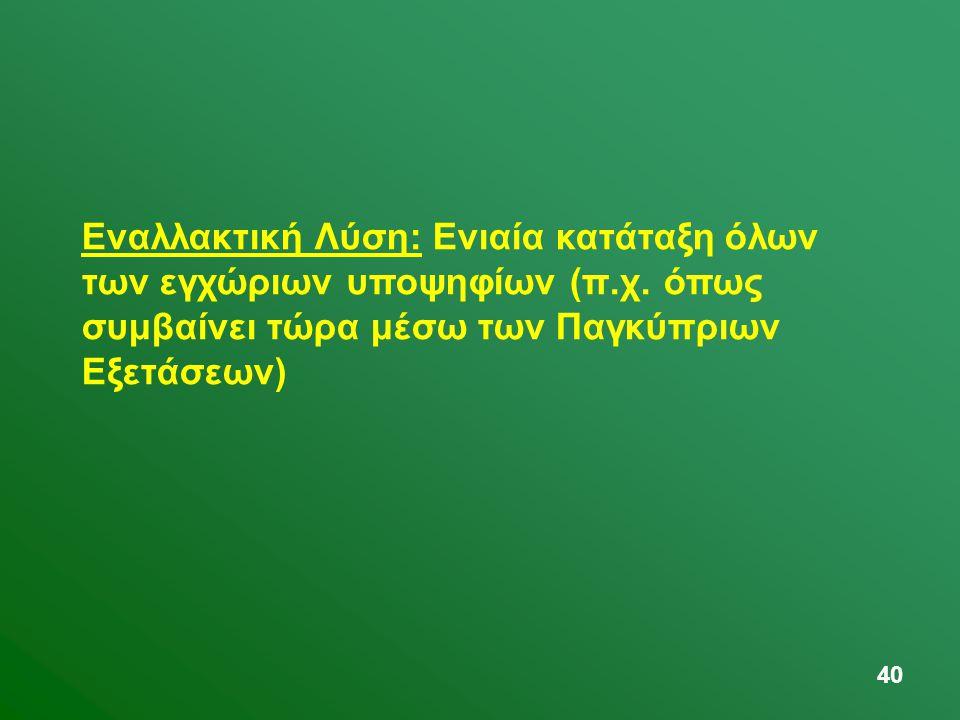 40 Εναλλακτική Λύση: Ενιαία κατάταξη όλων των εγχώριων υποψηφίων (π.χ. όπως συμβαίνει τώρα μέσω των Παγκύπριων Εξετάσεων)