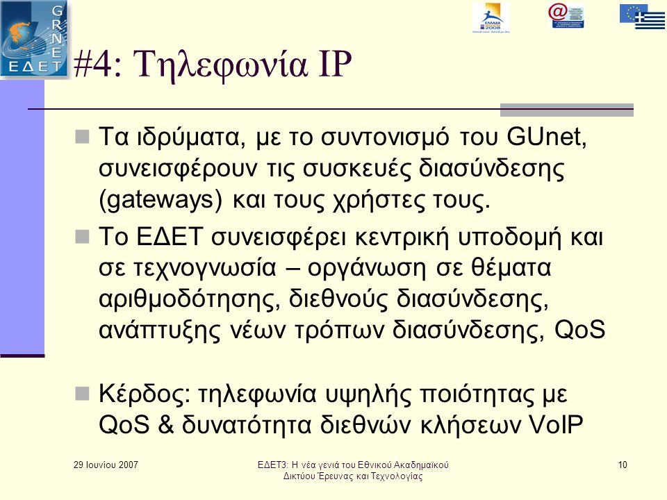 29 Ιουνίου 2007 10 #4: Τηλεφωνία IP  Τα ιδρύματα, με το συντονισμό του GUnet, συνεισφέρουν τις συσκευές διασύνδεσης (gateways) και τους χρήστες τους.