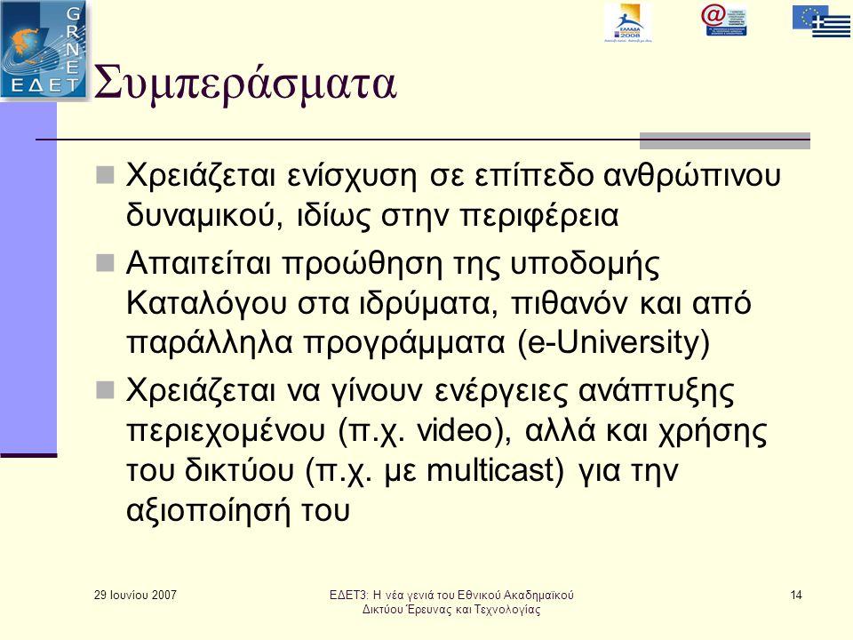 29 Ιουνίου 2007 14 Συμπεράσματα  Χρειάζεται ενίσχυση σε επίπεδο ανθρώπινου δυναμικού, ιδίως στην περιφέρεια  Απαιτείται προώθηση της υποδομής Καταλόγου στα ιδρύματα, πιθανόν και από παράλληλα προγράμματα (e-University)  Χρειάζεται να γίνουν ενέργειες ανάπτυξης περιεχομένου (π.χ.